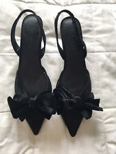 Womens Black Bow Shoes Sandals Heels Size 4