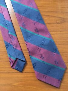 Vintage Neck Tie By CANDA. Red Blue Green GOLF Detail Kipper Style