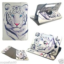 Housse Etui Tablette Rotative 360 ° - Ipad Mini 2 - Motif Tigre Blanc