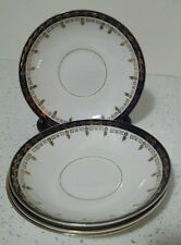 . 4 VINTAGE STANLEY CHINA SAUCERS PATTERN No. SYC2  COBALT BLUE BAND