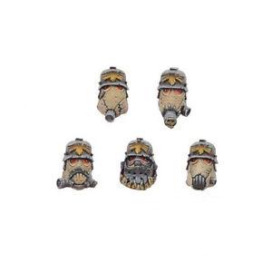 Ork War2 Iron Reich 10 Heads With Gas Masks Ork Bitz Kromlech KRCB033