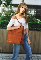 """Women Vintage Looking Genuine Brown Leather Tote Shoulder Bag Handmade 14"""""""