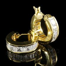 18K Gold ICED OUT SImulated Diamond Princess Cut Channel Set Huggie Hoop Earring