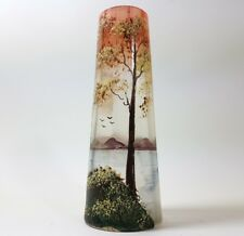Beautiful Old Glass Vase, Landscape, Enamel Painting, um 1900 AL102