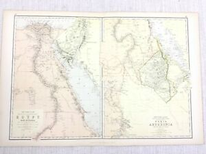 1888 Antique Map of Egypt Nile Valley Nubia Abyssinia Arabia Blackie & Son