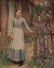 GEORGE CLAUSEN 1889 Oil Painting THE GIRL AT THE GATE Vintage 1930 Art BookPrint