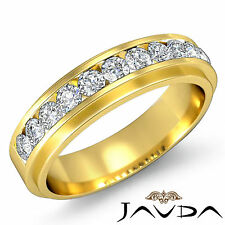 Channel Round Diamond Mens Half Wedding Band 14k Yellow Gold 6.75mm Ring 0.70Ct