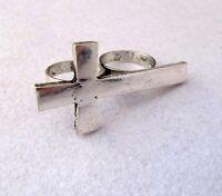 Stile vintage argento antico croce anello per dita doppio