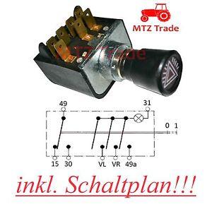 Warnblinkschalter Traktor Oldtimer Bagger Truck LKW BUS Universal