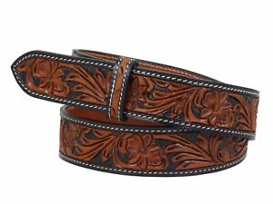 Thor Equine Western Gürtel Floral Tooled Ohne Schnalle Cowboy Cowgirl 2 Tone