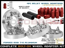 "F150 LIGHTNING 1.5"" WHEEL ADAPTER 5X135 BOLT PATTERN + RED SPLINE LUG NUTS KIT"
