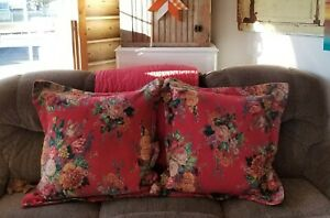 Lot 2 RALPH LAUREN AYLESBURY SQUARE EURO Pillow SHAMS Woven TAPESTRY Red Floral