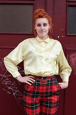 Damen Bluse blouse 80er True VINTAGE 80´s women gelb yellow glänzend shiny glanz