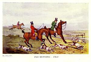 FOX HUNTING CHECK, HUNTSMEN ON HORSEBACK, HOUNDS LOSE THE LINE, ANTIQUE PRINT