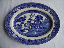 Alfred Meakin 'OLD WILLOW' : Blue & White Oval Serving Platter 28.5 cm x 22 cm