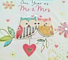 Owl Couple First 1st Anniversary Greeting Card Mr and Mrs Flower Champagne Nos
