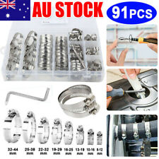 91X Stainless Steel Hose Clamps Clips Adjustable Range Worm Gear Pipe Clamp Kit