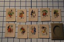 Set of 9 Swedish National Costume Mini cards, Aina Stenberg, Flowers, Postcards