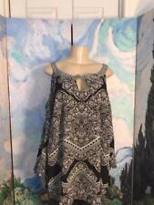 I.N.C. Plus 2X Black Print Tie Neck Rayon Open Shoulder 3/4 Sleeve Tunic Top