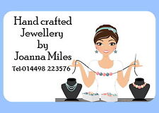 21 PERSONALISED GLOSS LABELS/STICKERS  FOR JEWELLERY MAKING, SELLERS , CRAFTERS