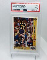 """Michael Jordan 1991 Upper Deck """"Magic vs. Jordan"""" #34 PSA 9 Mint- Bulls/Lakers"""