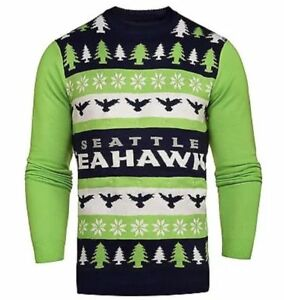 NWT NFL Seattle Seahawks Light 'em Up Men's Christmas Ugly Sweater Lights