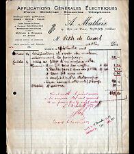 """VICHY (03) APPLICATIONS GENERALES ELECTRIQUES """"A. MATHEIX"""" en 1923"""