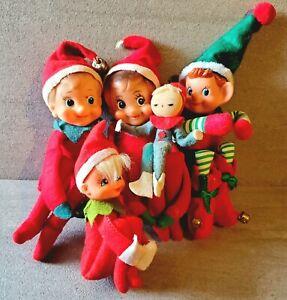 Vintage Japan Felt Pixie Elves Knee Hugger Lot of 5 Christmas Elf Retro