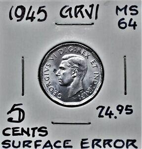 Struck Through Error - 1945 Canada 5 Cents