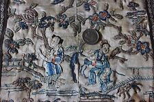 """Old Antique Hand Embroidered Chinese Delicate Blind Stitch Panel~23""""L X 9""""W"""