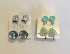 Korean Clip-On Earrings w/ Crystals Star Floral, Lot of 4 Pairs