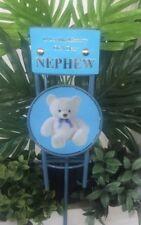 Baby Blue Teddy Bear Metal Grave Flower Pot, Vase, In Loving Memory,Memorials
