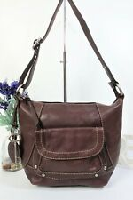 FOSSIL Crossbody Messenger Bag Zip Top Medium Brown Leather ~ Key Charm