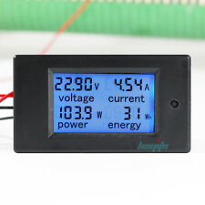 100A DC Digital Watt KWH Current Power Energy Meter Ammeter Voltmeter 7-100V US