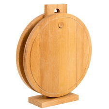 """2 Round Wooden Cutting Boards on Stand. Beech Wood Boards 10"""" each"""