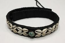 "BLACK COTTON - TURQUOISE EMBLEM WITH SHELLS & BEADS - 28"" LONG - 1 3/4"" BELT!"