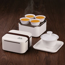 Canovaccio Mini portatile viaggio Gongfu set da tè Gaiwan Tazze in servizio Box