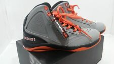 NWT AND1 BOYS Dominion Hi Basketball Shoes GRAY / ORANGE / BLACK SIZE 4