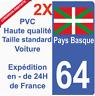 Autocollant Sticker plaque immatriculation département 64 Région Pays Basque HQ