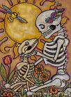 Sol mates - Day Of The Dead skeleton DOG LOVER Metallic ACEO Edition Lisa Luree