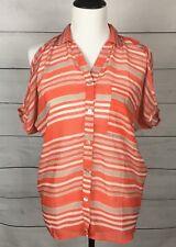 Whats Hot Women blouse Shirt top striped button down peek-a-boo shoulder size M