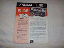Hammarlund HQ-100A Sales Brochure