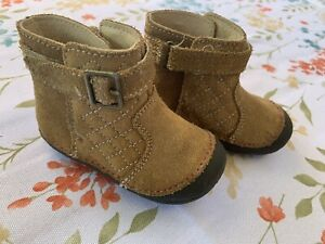 """Stride Rite Baby Toddler Girls """"Winifred"""" Brown Leather Boots Size 3"""