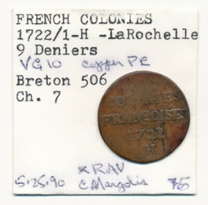 1722/1-H FRENCH COLONIES 9 DENIERS (SOU) > SCARCE OVERDATE MUST SEE !!! NO RSRV