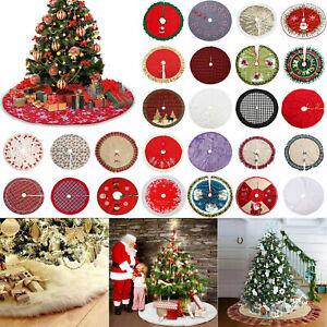Christmas Tree Skirt Round Edge Cover Carpet Base Floor Mat Plush Party Pad Set