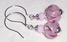 *PINK RIBBONS* Dangle Earrings Artisan Lampwork Crystal