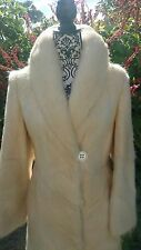 Custom Full Length real fur Coat Cream White Ivory Mink Arctic Fox vtg jacket S