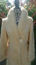 Beautiful custom real fur Coat Cream White Ivory Mink Nutria Fox vtg jacket S