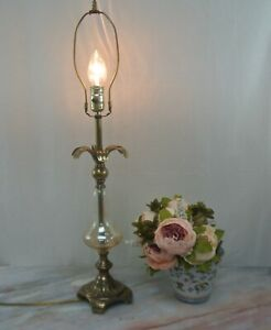 """Brass Iridescent Glass Table Lamp with Floral Tropical Design 30""""/ Home Lighting"""