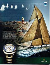 Publicité Advertising 028  2011   montre Rolex Oyster yacht   voiles St Tropez